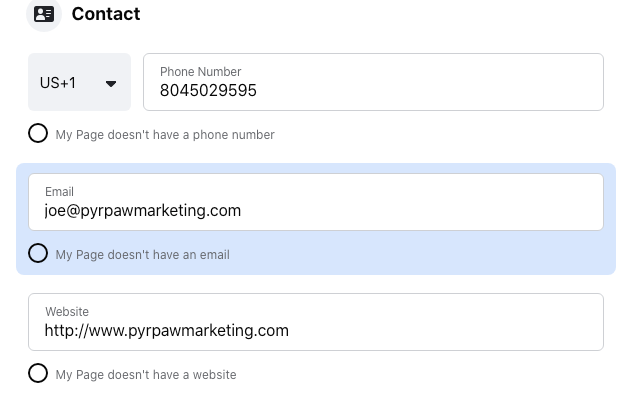 Image of the Contact settings for a Facebook business page.