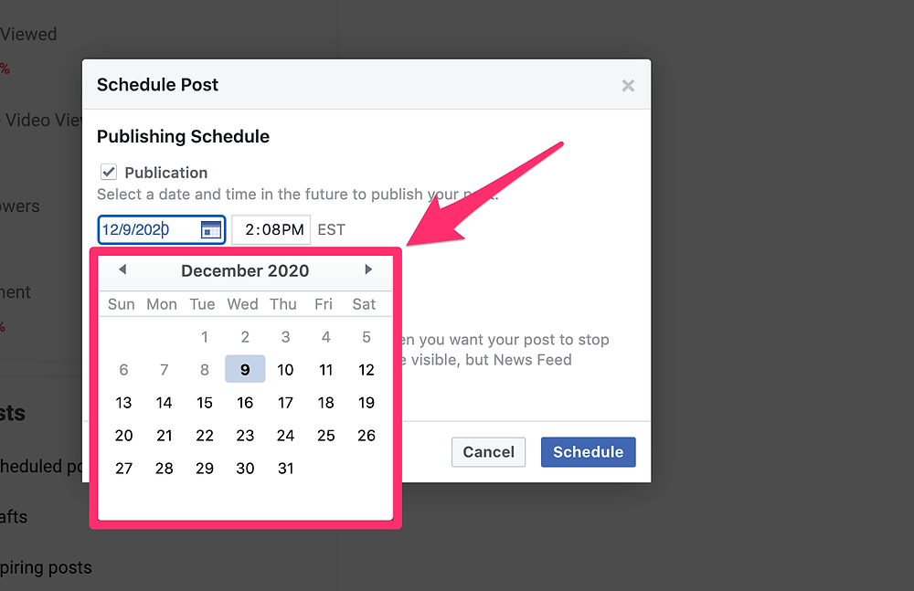Facebook post scheduling calendar view