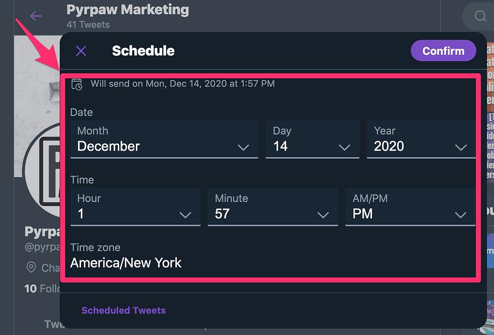Twitter scheduling options window