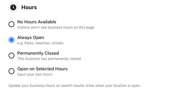 Image of Hours settings for a Facebook business page.
