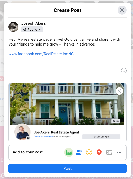 Image of a personal Facebook post to announce your business page.