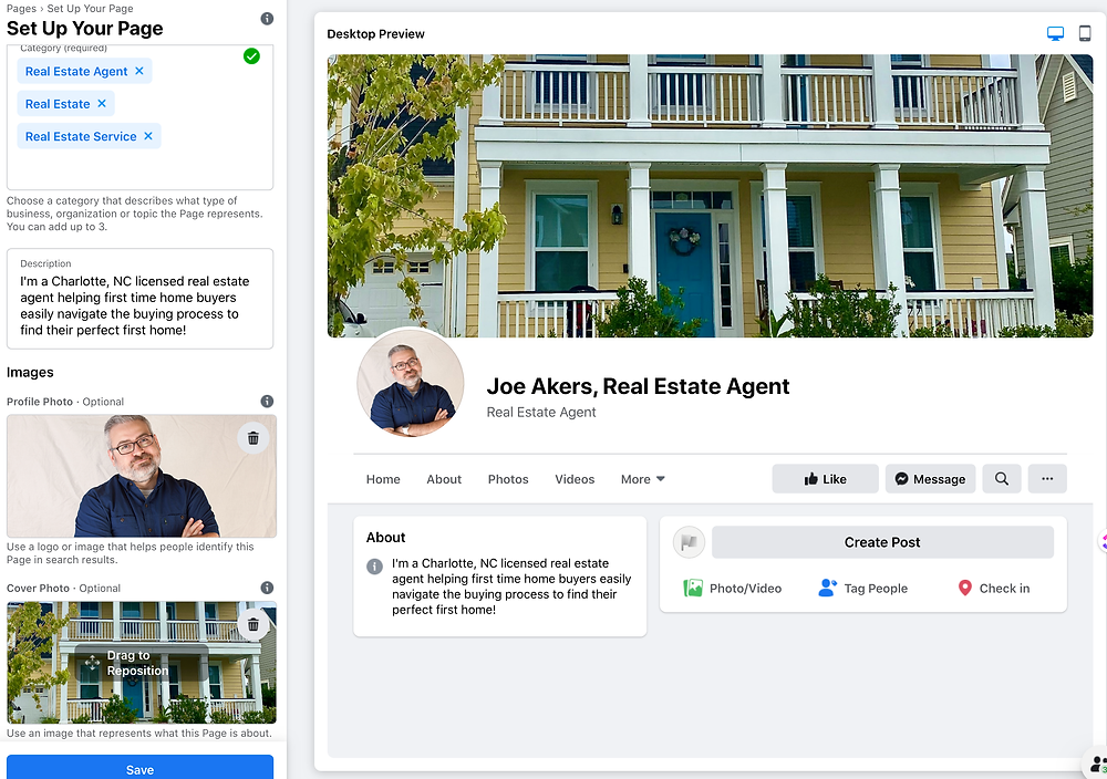 Image of Facebook cover image and profile image preview.