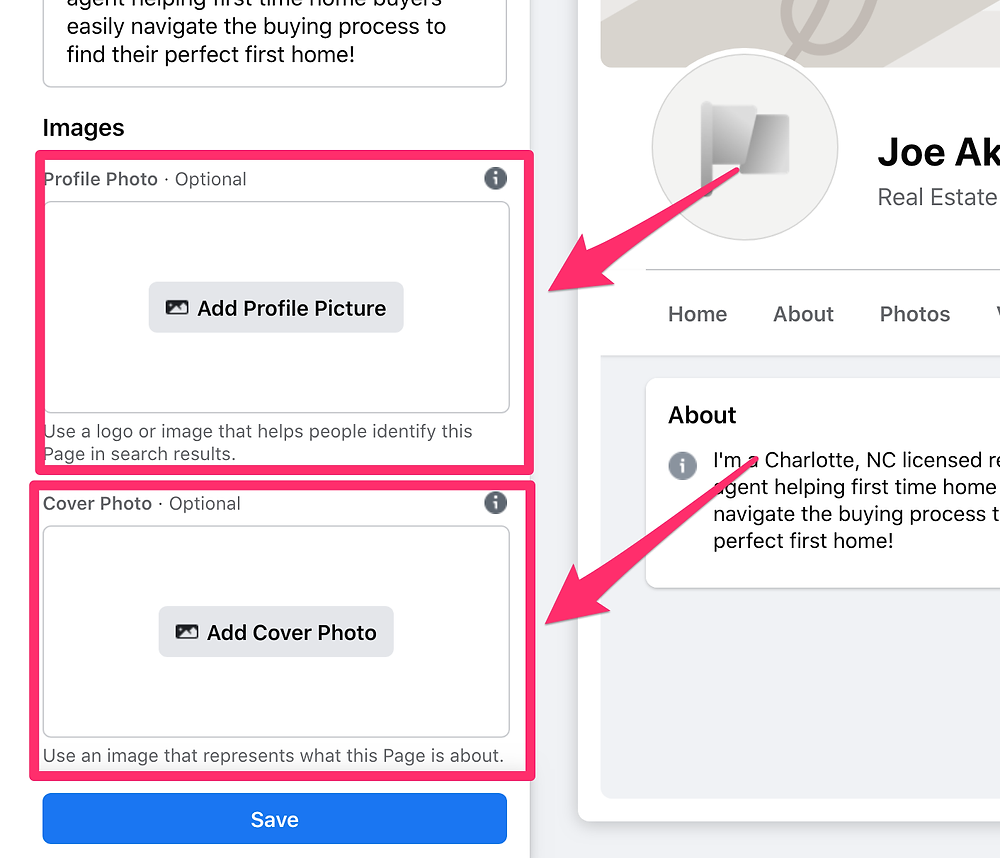 Image of Facebook profile and cover photo images.