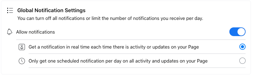 Image of settings for Global Notification Settings for Facebook business page.