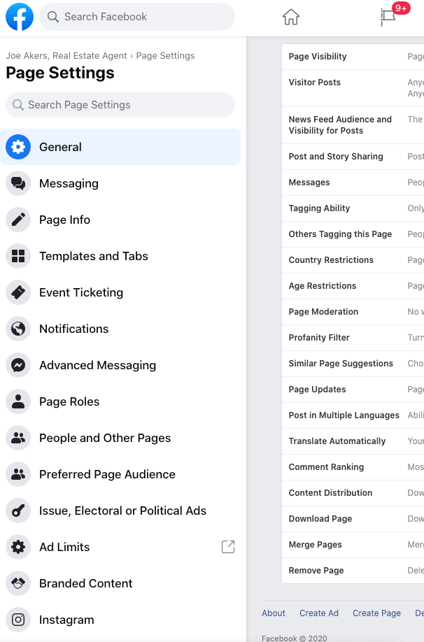 Image of the Facebook business page settings options.
