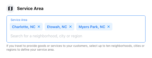 Image of Service Area settings for Facebook business page.