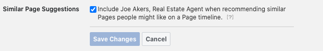 Image of Facebook business page Similar Page Suggestions settings.