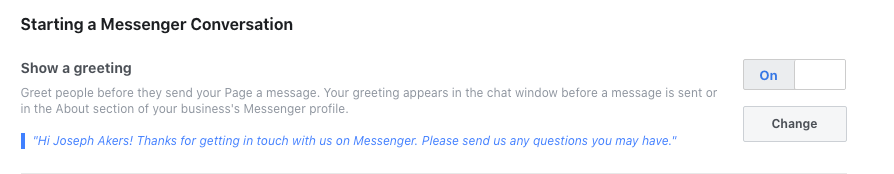 Image of Starting a Messenger Conversation settings in Facebook business page.
