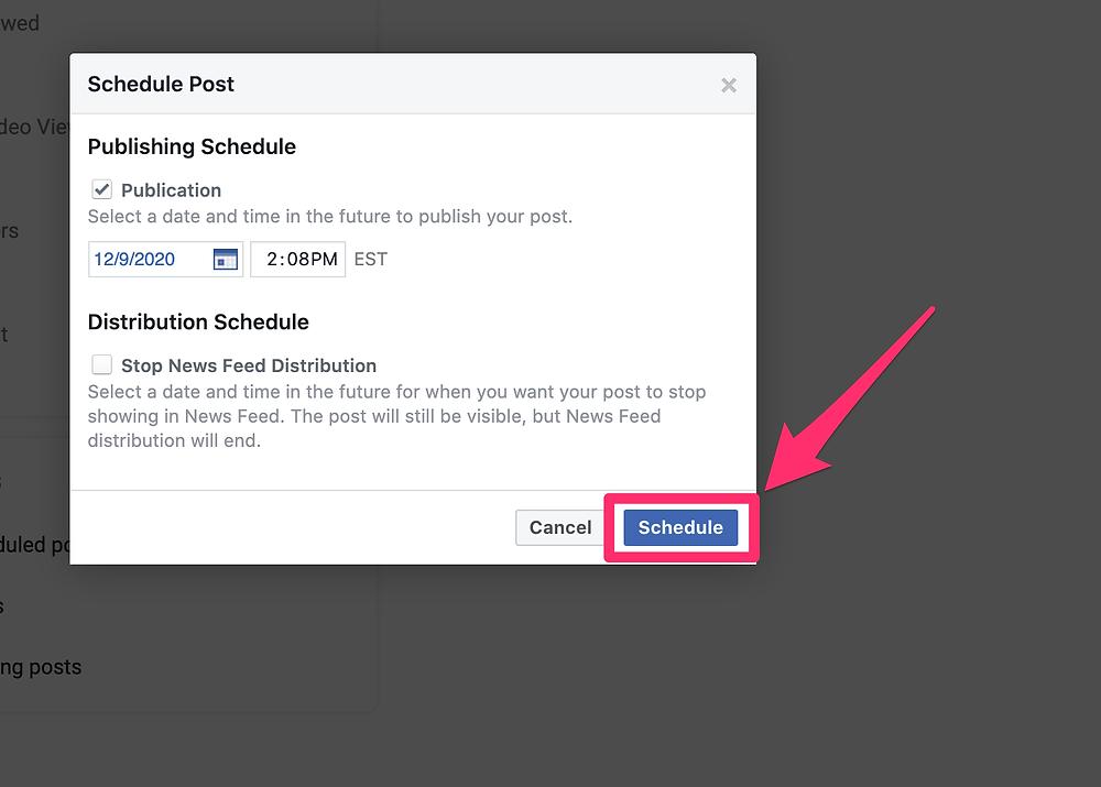 Facebook post schedule button