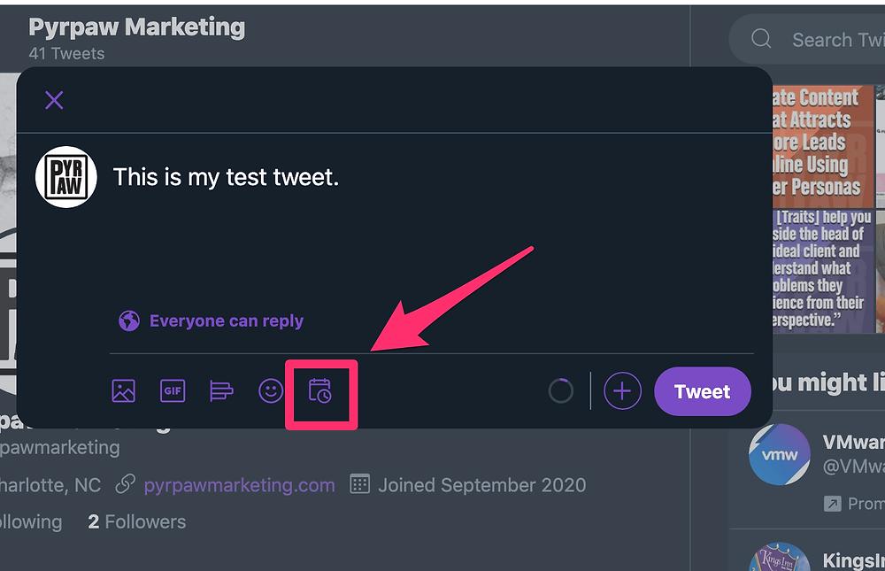 Schedule icon in the Twitter tweet window