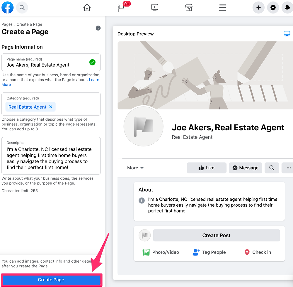 Image of the Create Page button for Facebook business pages.