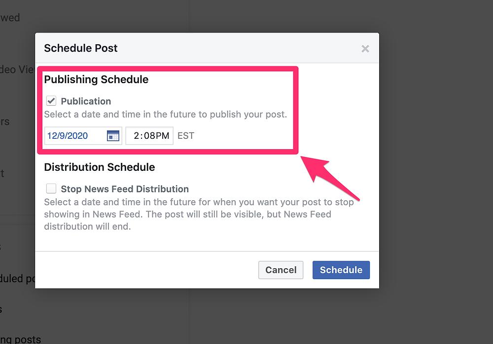 Facebook post scheduling calendar menu