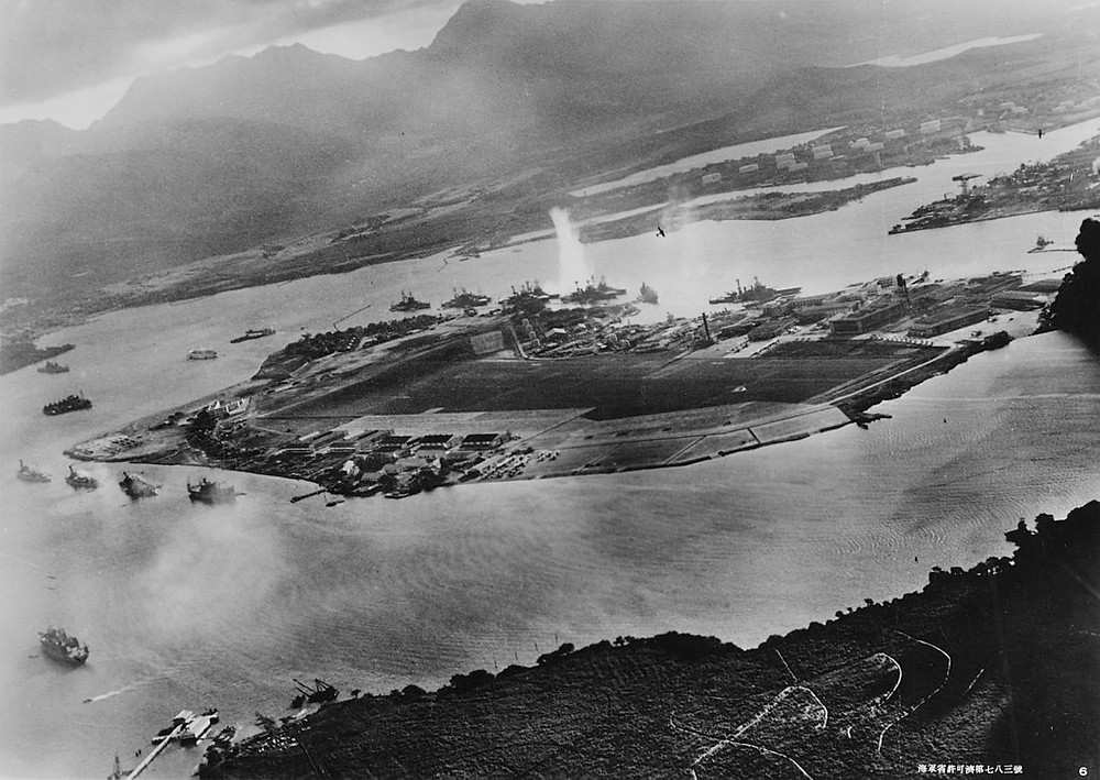 Photo of Pearl Harbor during attack.