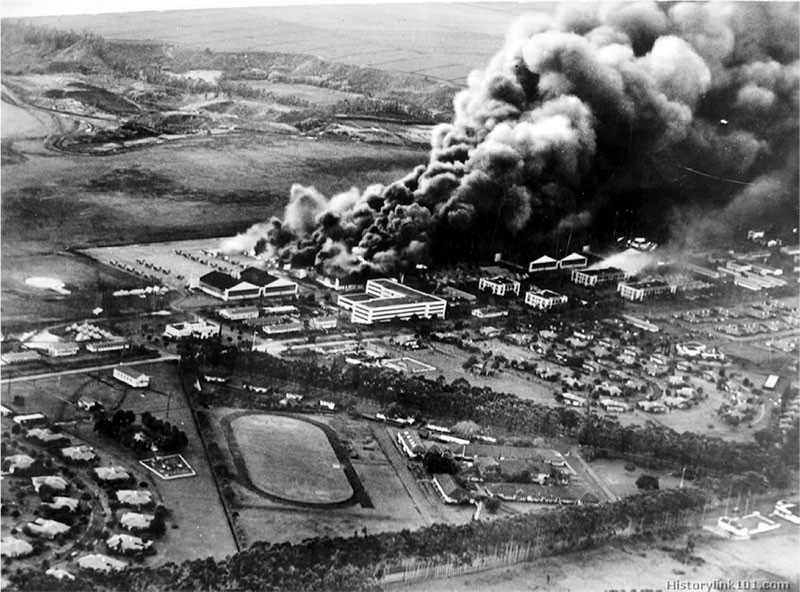 Wheeler Army Airfield with Curtiss P-40's ablaze.