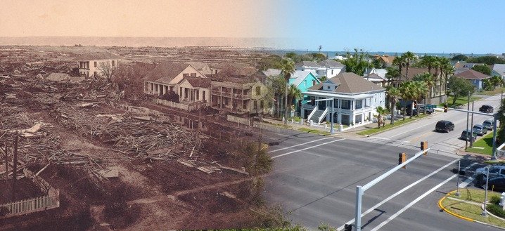 Galveston 1900 and current
