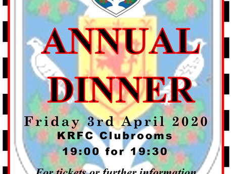 **CANCELLED** Kelso RFC Club Dinner