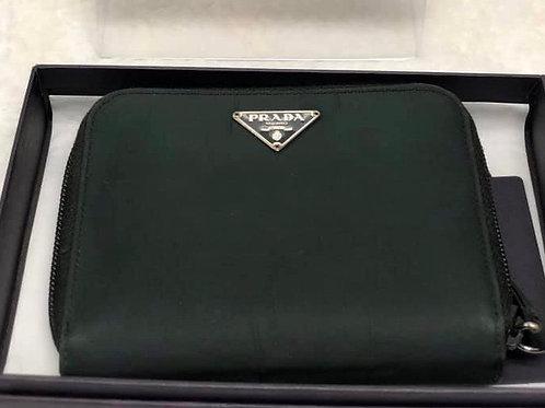 Prada nylon green wallet