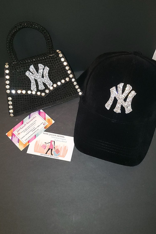 Mini Black Rhinestone NY Set