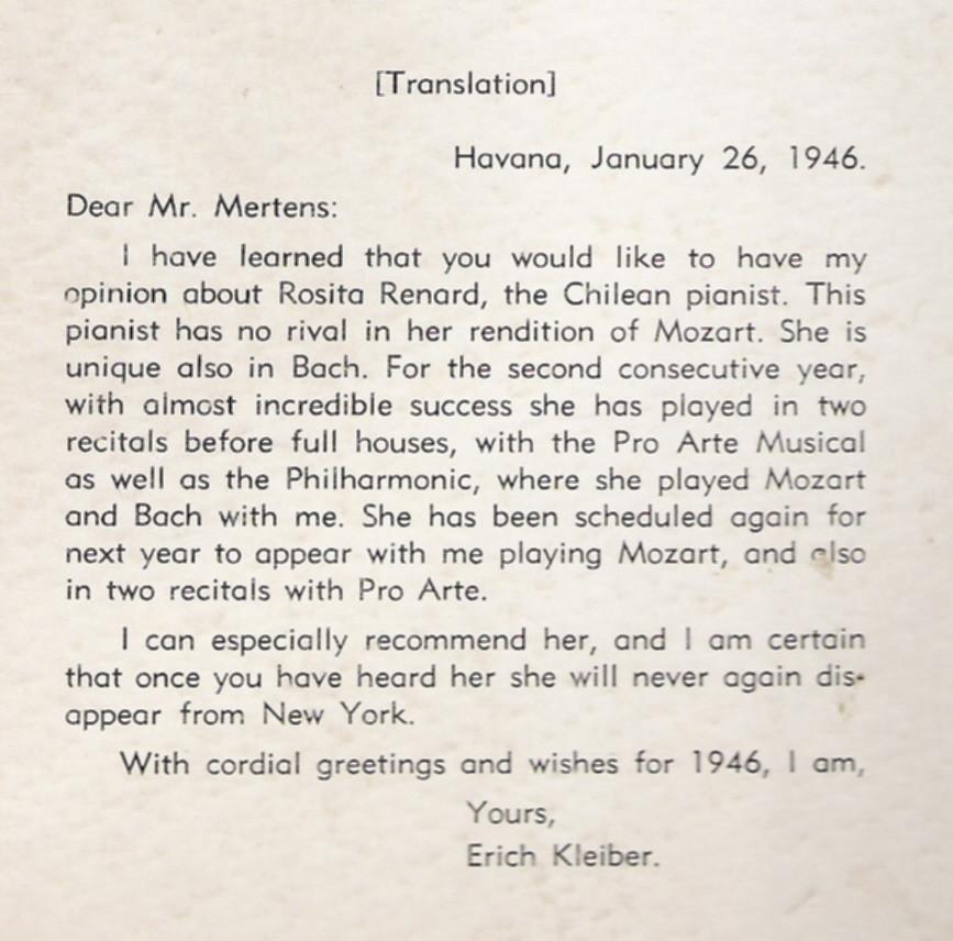 Erich Kleiber sobre Rosita