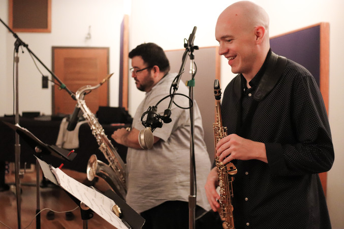 "Recording ""Smoke and Mirrors.""  Photo by Sarah Milligan Photography"
