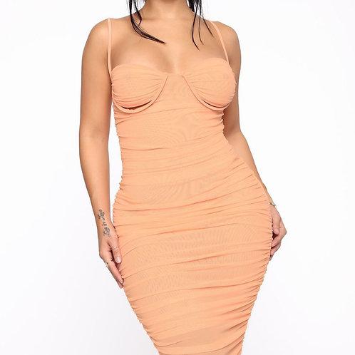copy of FashionNova Karly Mesh Ruched Midi Dress