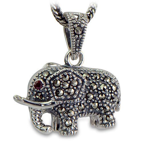 Retro silver mosaic elephant pendant sterling silver 925