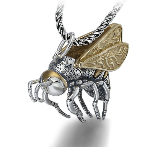 Golden bee pendant sterling silver 925 retro style