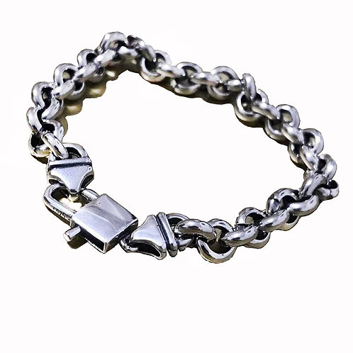 Retro O type chain bracelet sterling silver 925