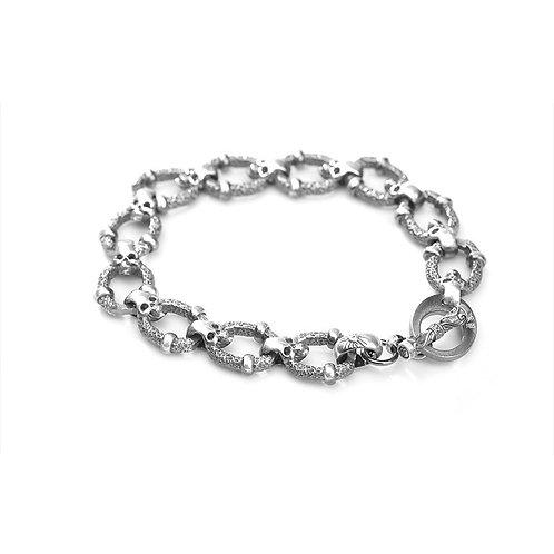 Western style punk fashion design skull head men's bracelet sterling silver 925