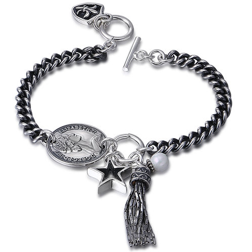 Fashion design Virgin Mary tassels cross bracelet sterling silver 925