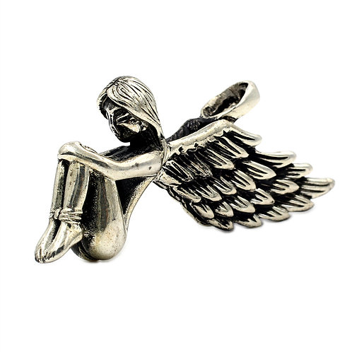 Angel wing sweater pendant sterling silver 925 retro style