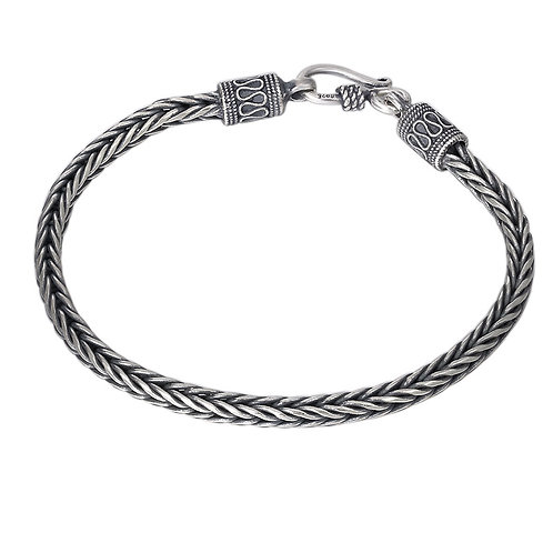 Retro fashion design knit square pattern men's bracelet sterling silver 925