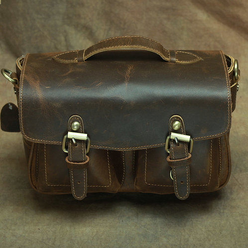 Creative design handmade cow leather pastoral casual style leather camera bag