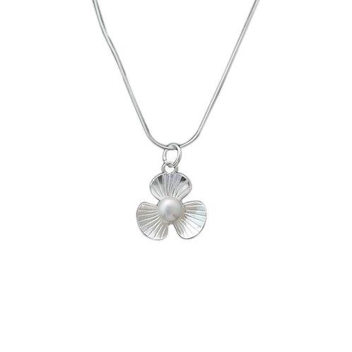 Creative design three petal flower pearl pendant sterling silver 990