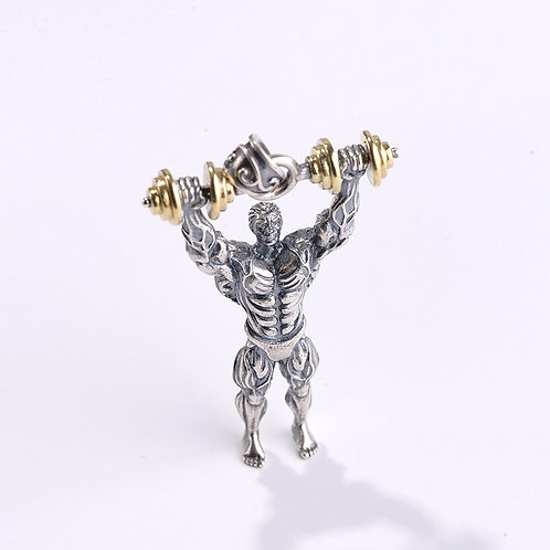 Retro silver fashion desgin muscle men's pendant sterling silver 925