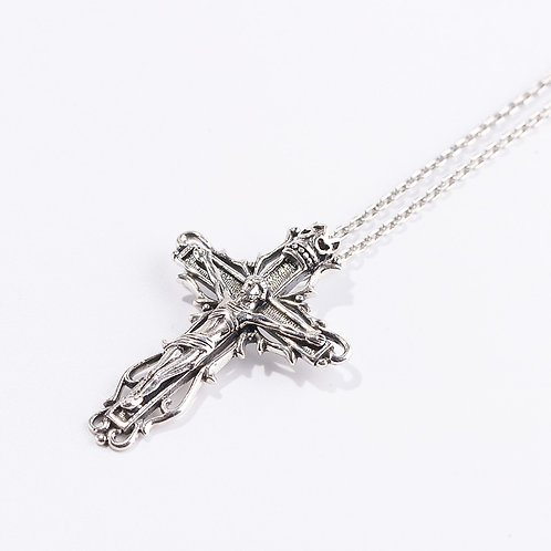 Silver retro religion style cross pendant sterling silver 925