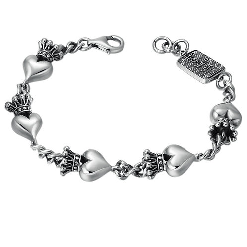 Silver unique creative design crown heart bracelet sterling silver 925