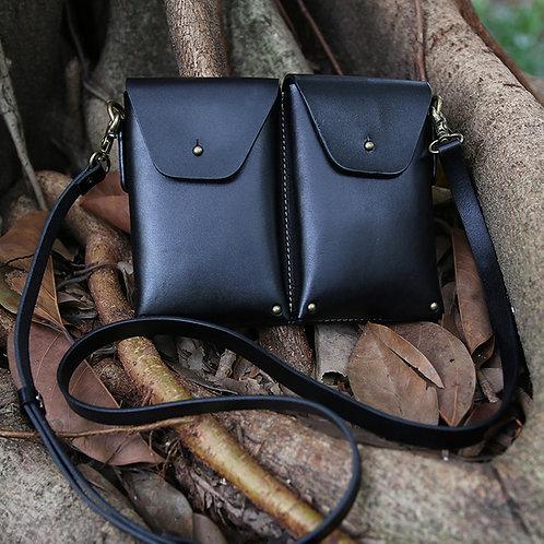 Creative design handmade full-grain cow leather double waist bag