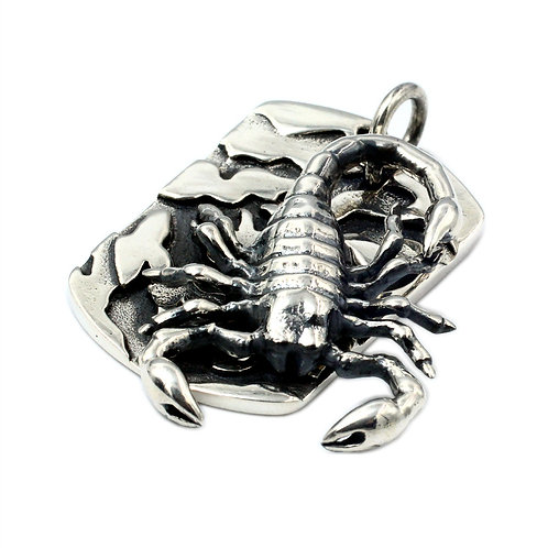 Scorpion rock pendant sterling silver 925 punk retro style