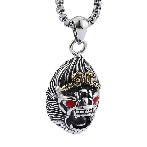 Silver retro monkey king men's pendant sterling silver 925