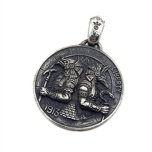 Gaboratory coin Horus and Anubis pendant sterling silver 925 punk retro style