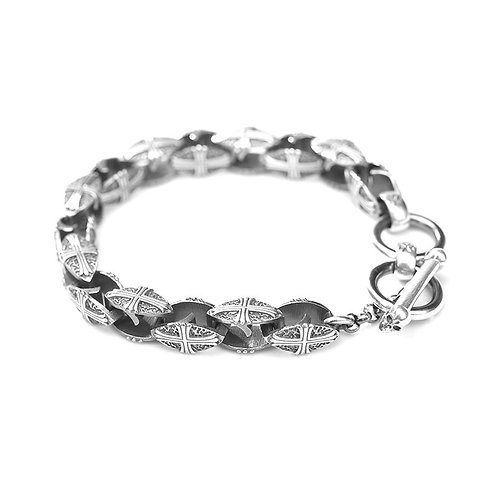 Creative design unique retro cross men's bracelet sterling silver 925