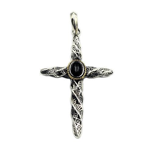 Screw-type gemstone cross pendant sterling silver 925 Gothic  style