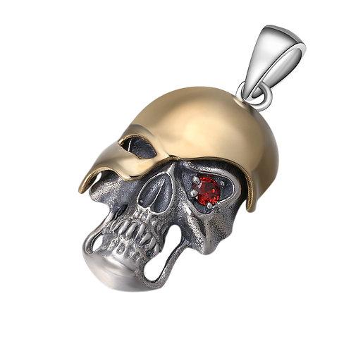 Fashion silver single-eyed skull men's pendant sterling silver 925