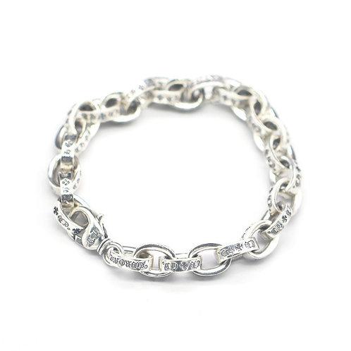 Silver chic fashion design letter logo thick bracelet sterling silver 925