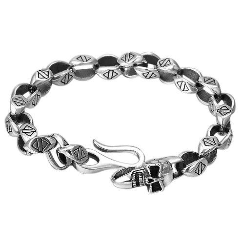 Fashion chrome retro skull men's bracelet sterling silver 925