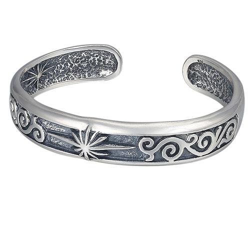 Unique creative design sun ray opened bracelet sterling silver 925