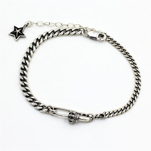 Creative unique design pin crown star bracelet sterling silver 925
