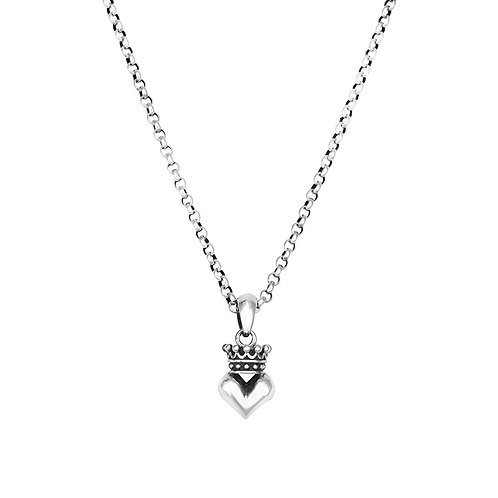 Easy-matching crown heart-shaped pendant sterling silver 925