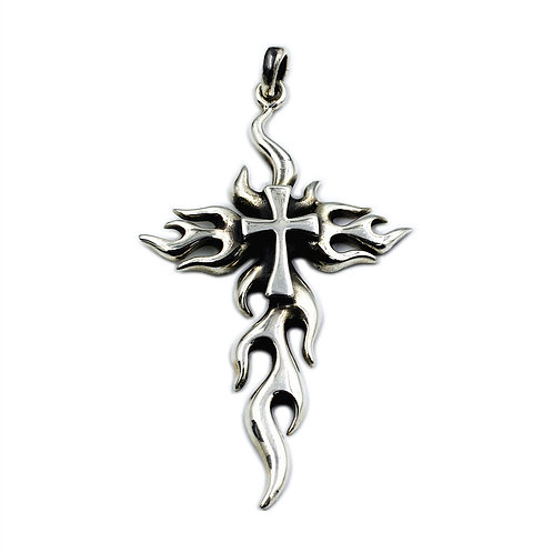 Flame cross pendant sterling silver 925 Gothic style